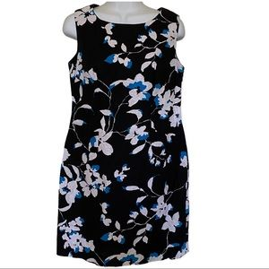 Ronni Nicole Black, White dress with Turquoise Flowers size 8